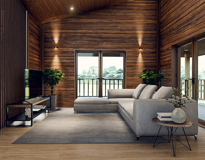 3D Interior design of wooden house