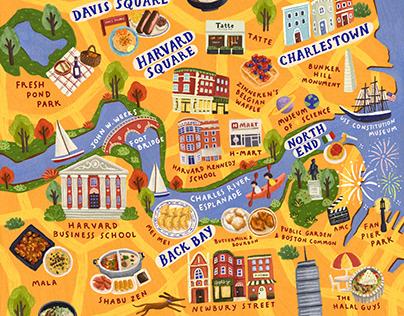 Illustrated Map of Boston