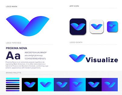 V Letter Mark Design   VISUALIZE Logo Design 2020