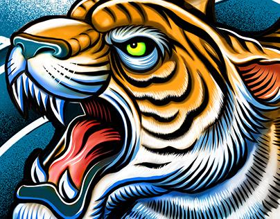 Lion and Tiger Yin Yang symbol