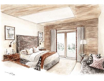 watercolour, scheme development for a guest bedroom
