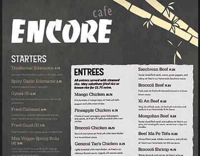 Encore Cafe Menu Redesign