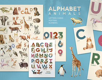 Kids Animals Alphabet and Letter Card