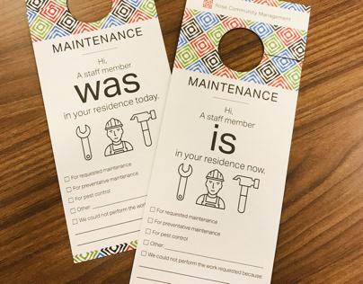 Maintenance Door Hangers