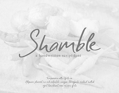 SHAMBLE FONT | a handwritten script font