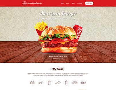 American Burger Restaurant Website Design UI UX