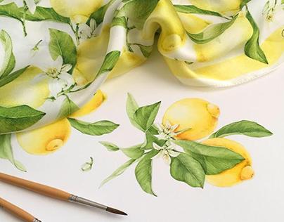 Watercolor illustration of lemons for silk scarf