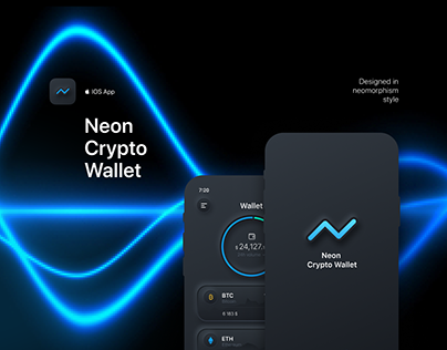 Neon Crypto Wallet | designed in neomorphism style