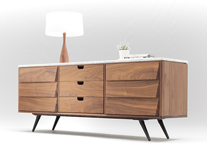 Walnut and Marble sideboard