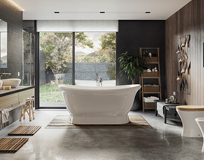 CG - Modern Bathroom in Black and White