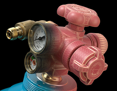 VIPR MkII Cylinder Valve and Guard 3D Rendering