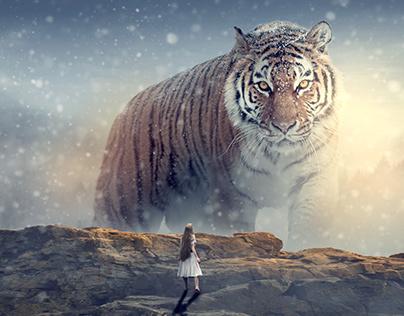Tigre gigante - Fotomontaje