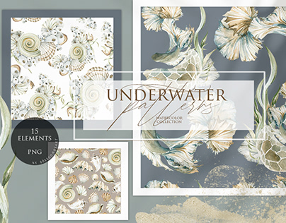 Underwater patterns. Watercolor collection