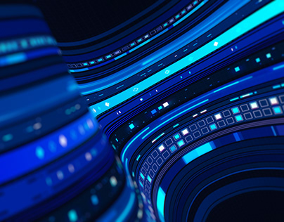 4K 3D Futuristic HUD Display of Computer Network