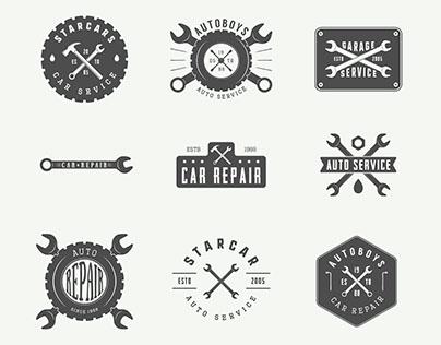 Set of vintage mechanic and car service emblems.