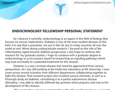 personal statement fellowship infectious disease Residency personal statements writing service reminds that you should create an outstanding personal statement for endocrine fellowship to succeed.