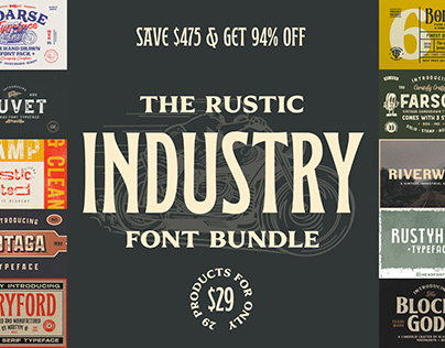 The Rustic Industry Font Bundle - Save $475!