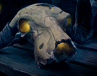 Firefly Party in a Skull