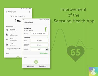UX design adaption of the Samsung Health app