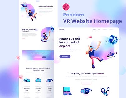 Pandora VR Store Website with 3D illustration