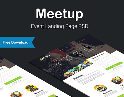 Meetup - Event Landing Page (Free Download PSD/HTML)