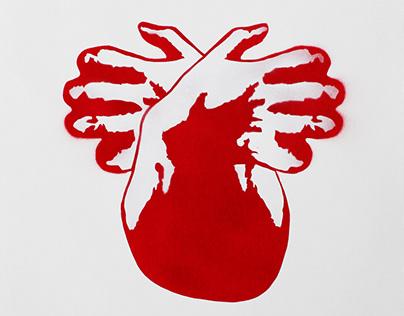 Heart/Hands Stencil