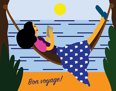 set of postcards bon voyage