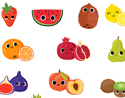 Fruits and vegetables. Cute characters