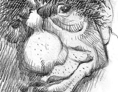 Black and white caricature portrait