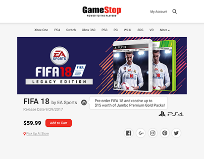 Single Product Page for GameStop