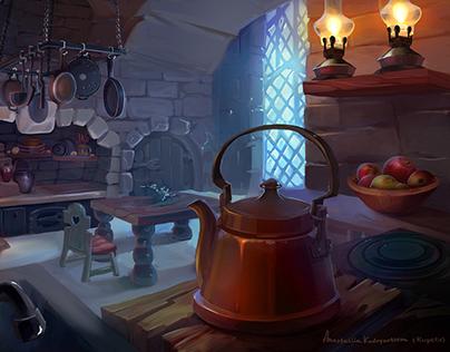 Medieval kitchen matte painting