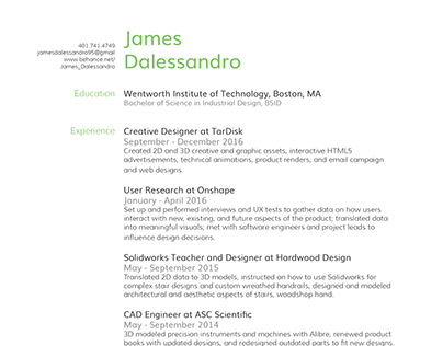 James Dalessandro 2017 Resume