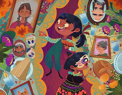 Día de Muertos/Gifts/Altar Spread Illustration