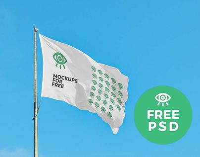 Waving Flag Mockup / Free PSD