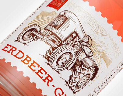 Erdbeer-Gin Label Design