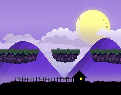 Night scene for a platformer game.