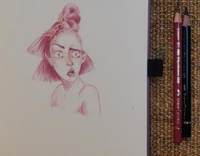 Portrait Sketches made with polychromos color pencils