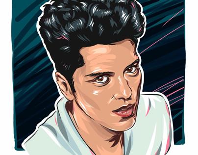 Bruno Mars vector portrait