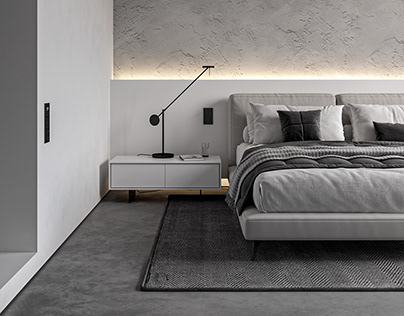 Monochrome Bedroom in Prague (free 3d model)