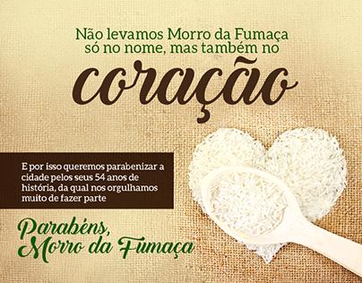 Banner de aniversário de Morro da Fumaça - Facebook