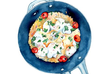 Braised Eggs, Tahini Yogurt, and Pilaf