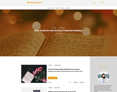 A design of a blog about books