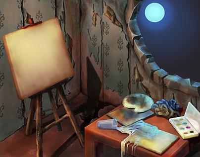 Postapocaliptic artist's room