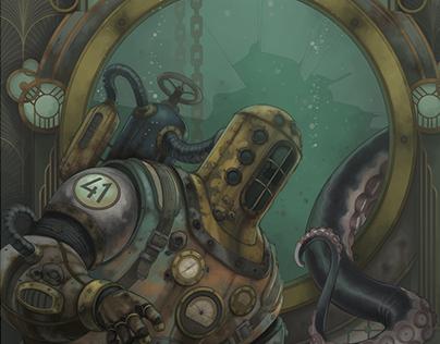 Antique Diver Illustration