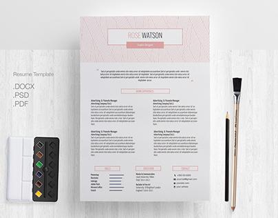 Pink Pastel Pattern / CV Template / Letterhead