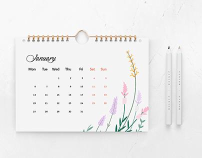 Free 2020 calendar Ai file