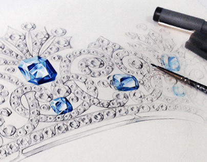 Jewelry illustrations for the Moscow Jewelry Factory