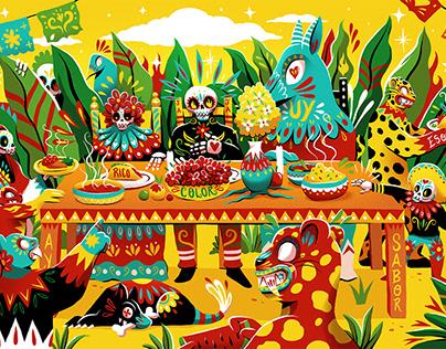 Guzman y Gomez Mural Illustrations