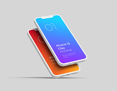 Phone 12 Pro Clay Mockup