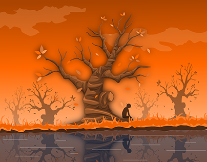 Draw A sad fall in a open vector editor Inkscape